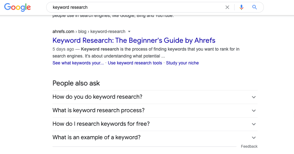 Google Questions to Find Content Topic