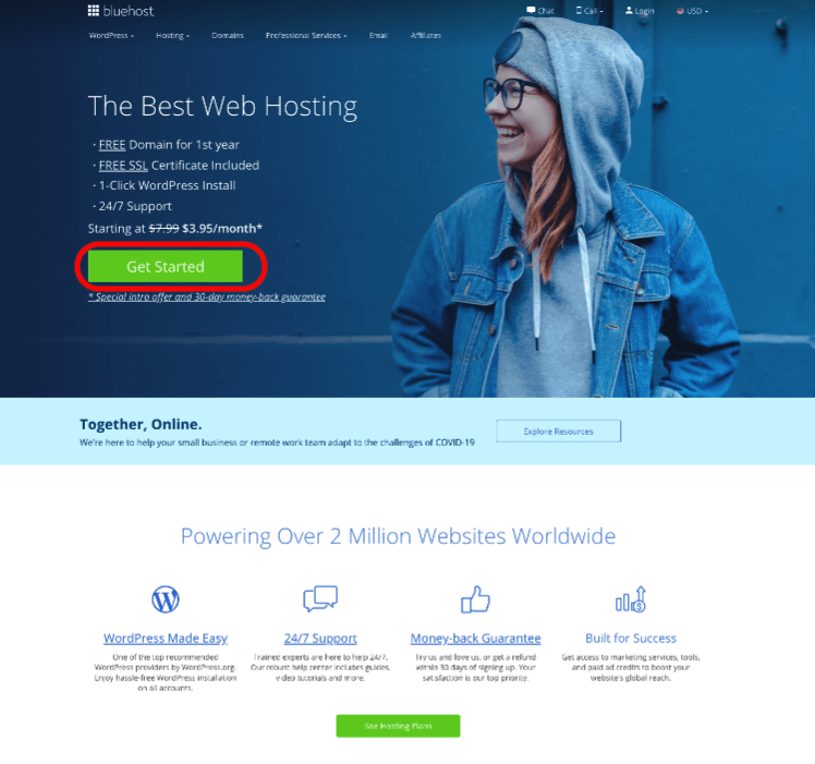 Start-with-Bluehost