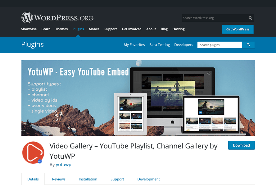 Channel Gallery by YotuWP plugin