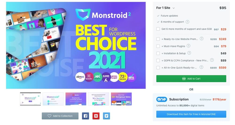 Monstroid2 Theme Pricing