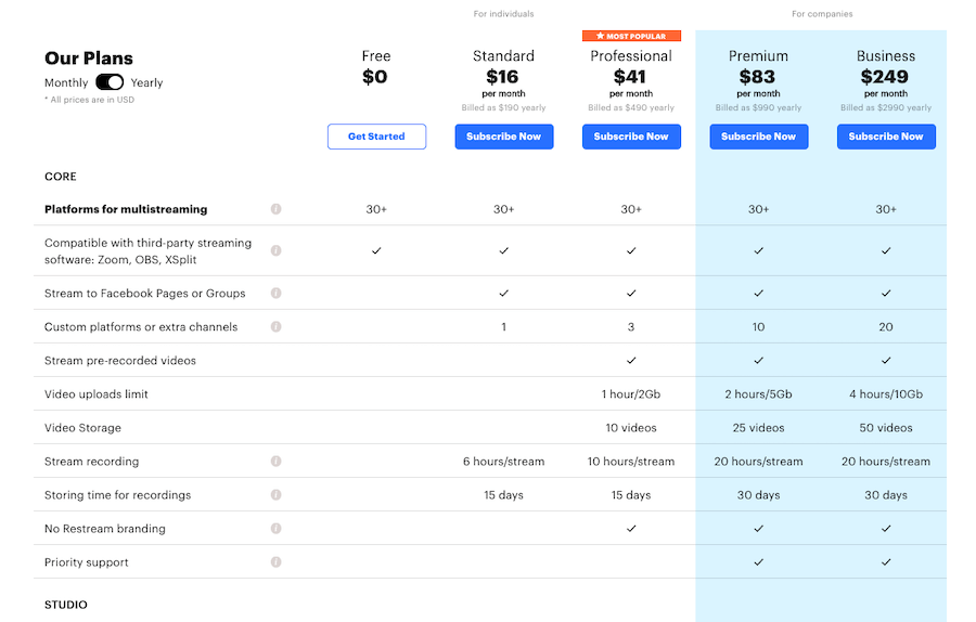 Restream Pricing for Companies