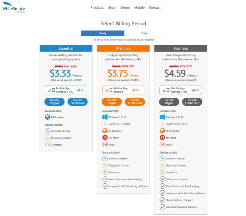WhiteSmoke Pricing