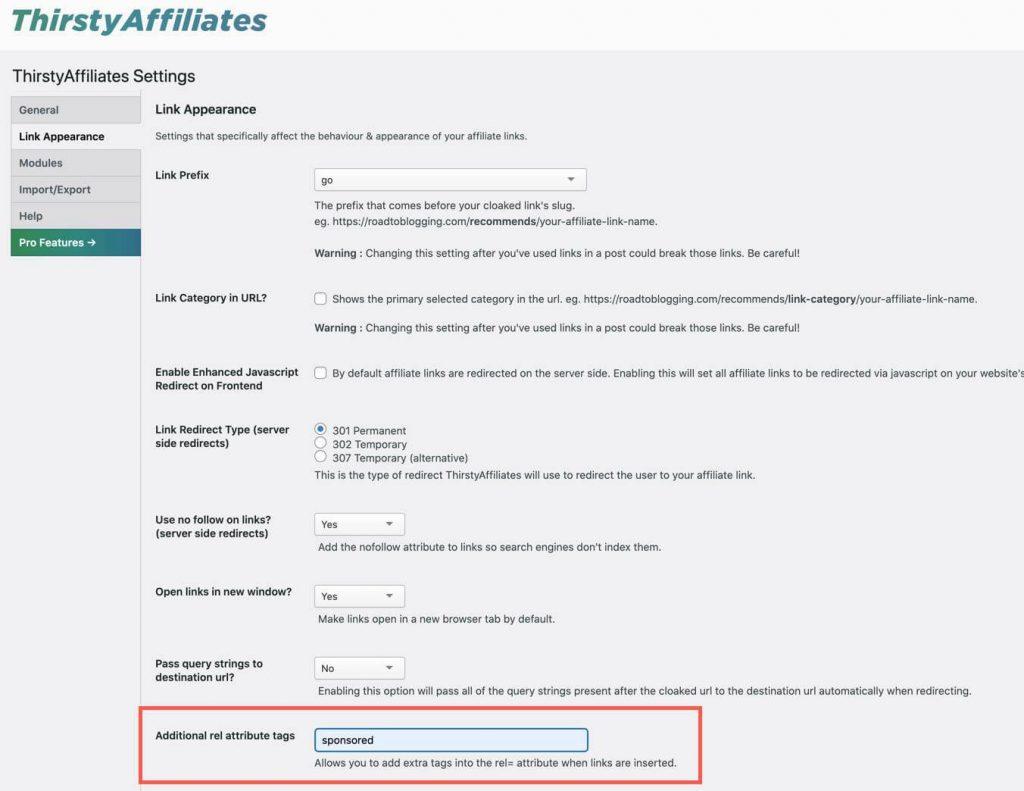 adding sponsored tag thirsty affiliates