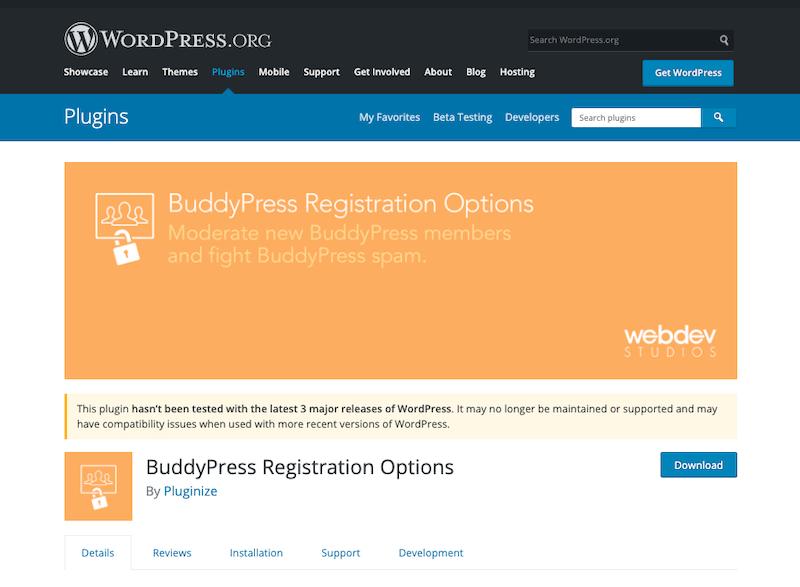 BuddyPress Registration Options