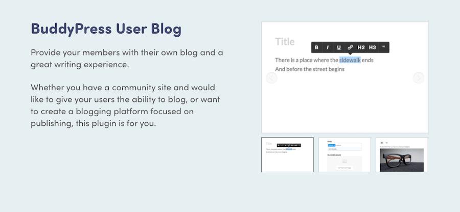 BuddyPress User Blog