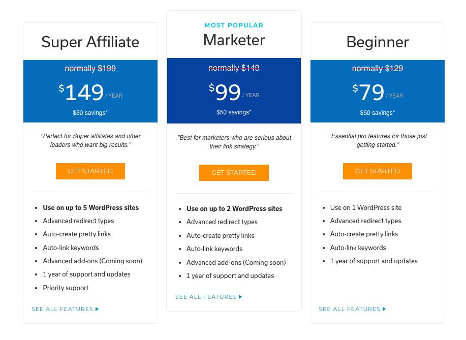 Pretty Links Pro Pricing