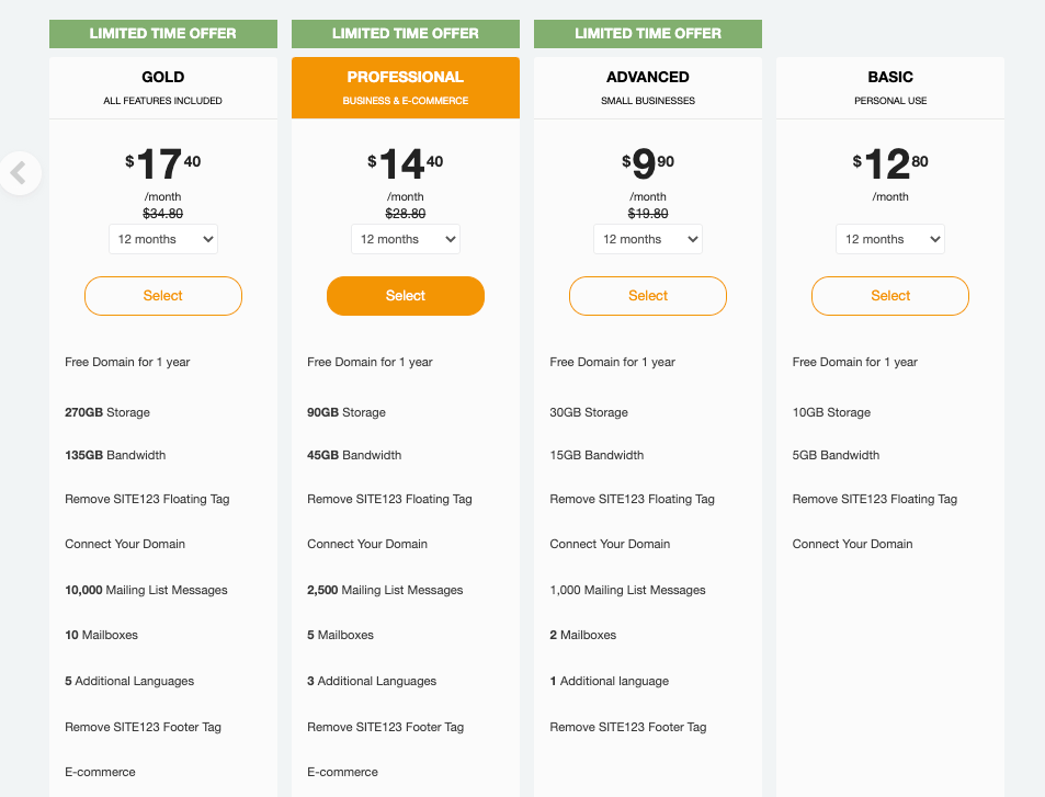 Pricing Plans Site123