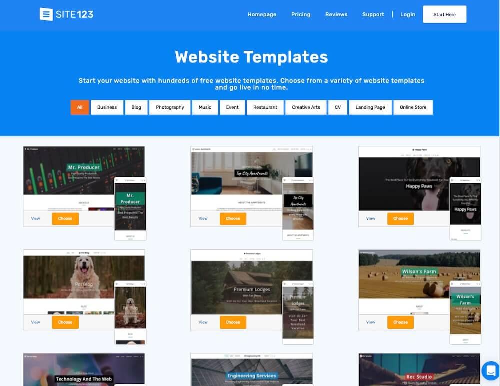 SITE123 Website Templates