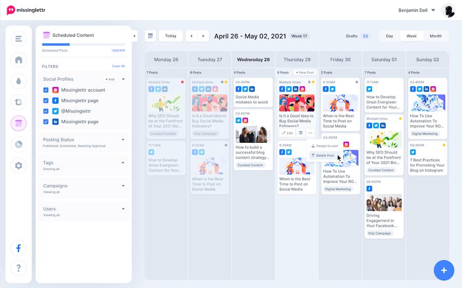 Missinglettr Social Media Calendar