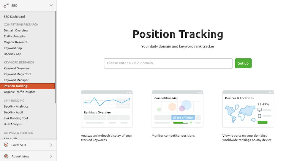 Position Tracking Semrush