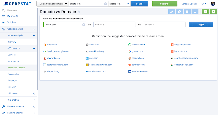 Serpstat Domain vs Domain Report