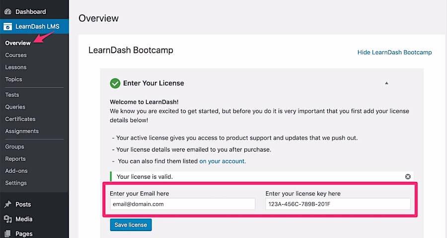 enter-learndash-license-key